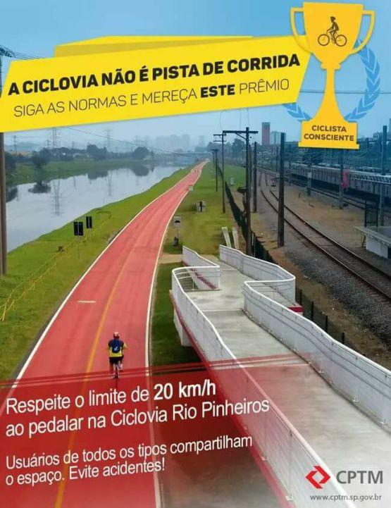 Ciclovia Rio Pinheiros Velocidade Bike Zona Sul